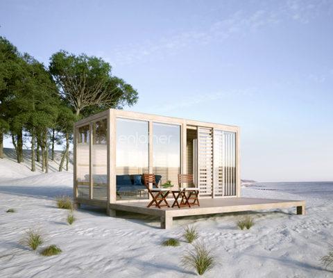 Kubikowy domek modułowy na plaży