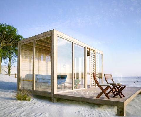 Kubikowy domek na plaży
