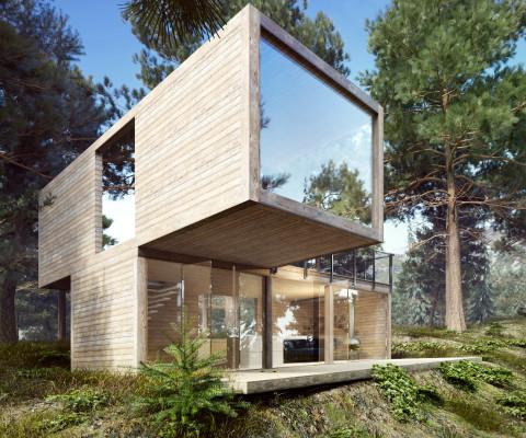 Nowoczesny ekologiczny dom drewniany modułowy